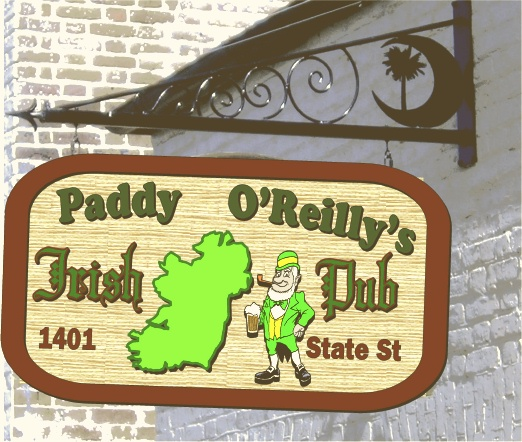 Y27649 - Irish Pub Sandblasted Blade Sign with Custom Iron Hanger