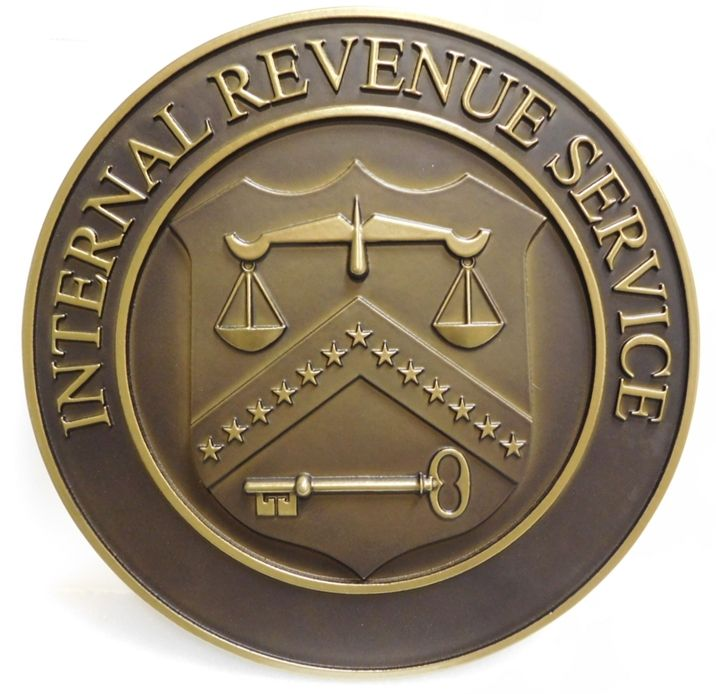 AP-4648- Carved Plaque of the Seal of the Internal Revenue Service,  Department of the Treasury , 3-D Brass-Plated with Bronze Patina