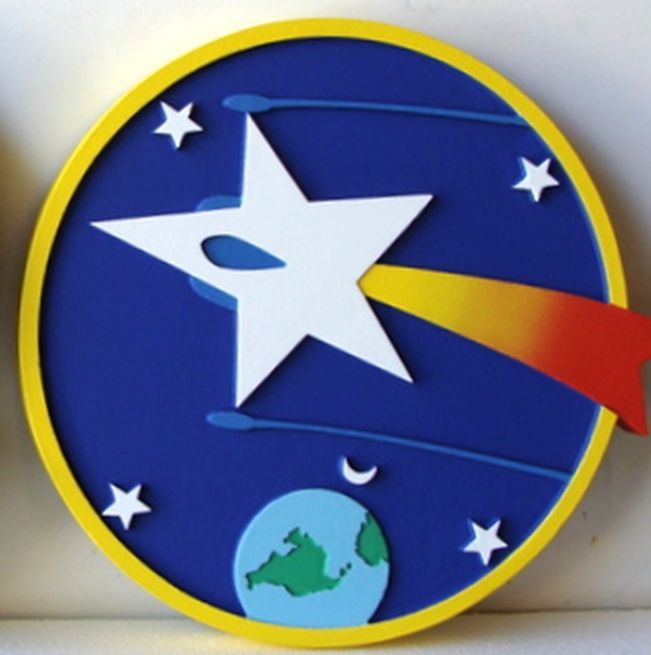LP-1226 - Carved Round Plaque of the Crest of a Space Squadron,  Artist Painted