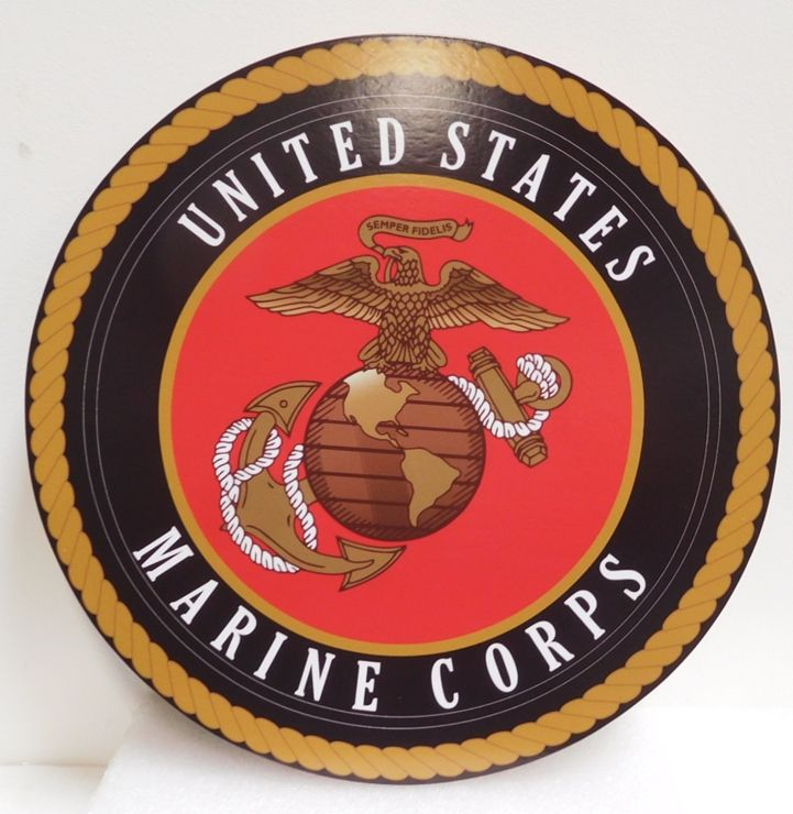 KP-1230 - Plaque of Emblem of the US Marine Corps, Printed Giclee Vinyl  on Acrylic Base