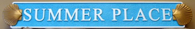 """L21866 - Carved Quarterboard Beach House """"Summer Place"""" Sign with Sea Shells"""