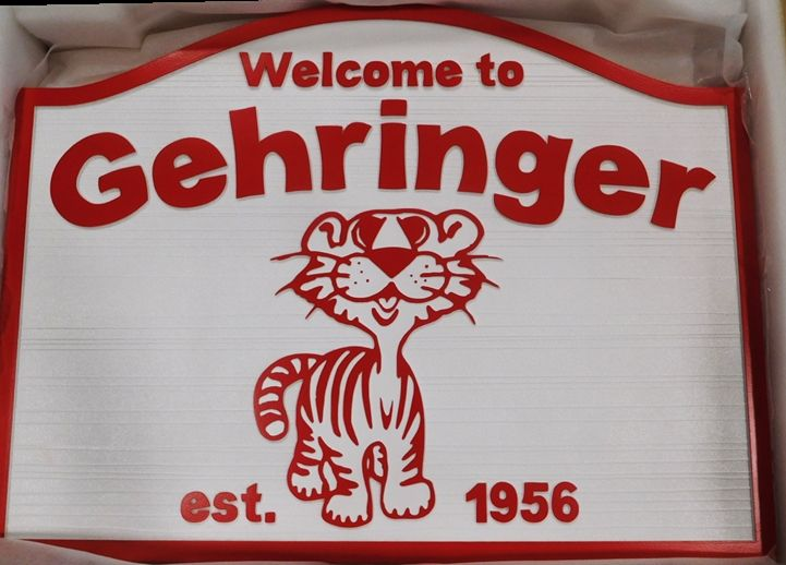 "I18605 - Sandblasted Residence Name Sign ""Gehringer"", with a Smiling Cat as Carved Artwork"