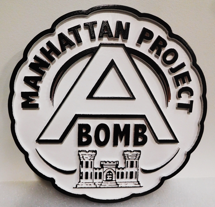 MP-2830 - Commemorative Plaquefor the Army Corps of Engineers Participation in the Manhattan Project, 2.5D Painted in Black and White