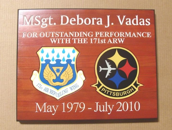 M3083 - Carved Redwood  Award Plaque for Air Force Career Outstanding Performance (Gallery 31)