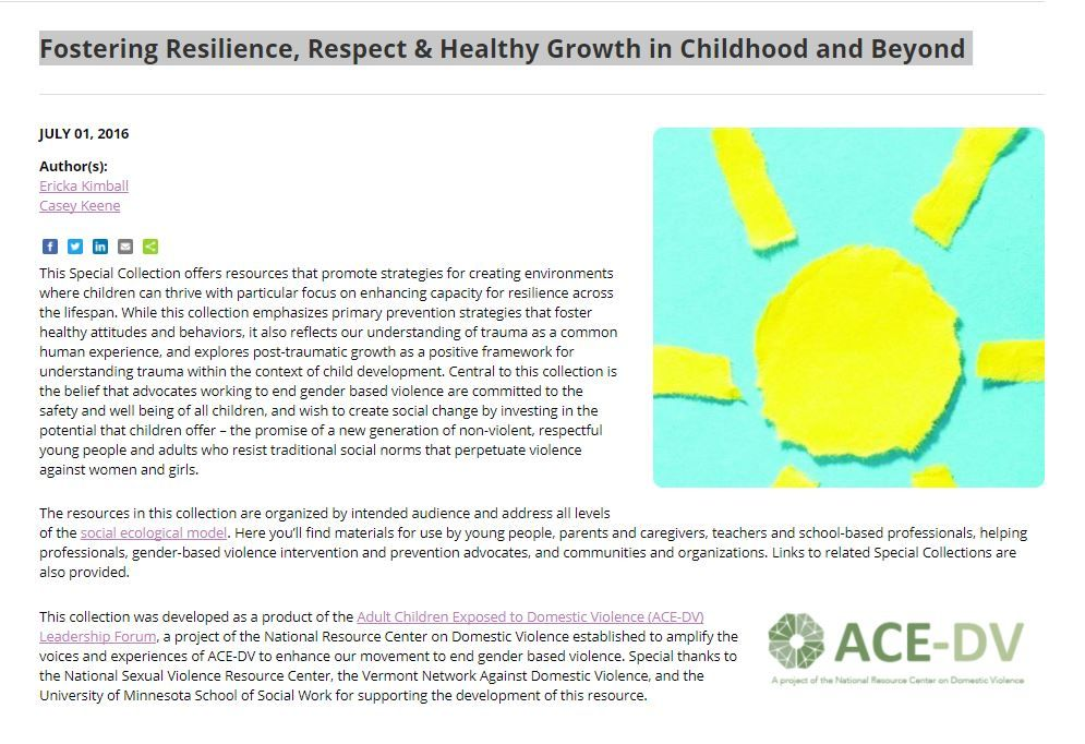 Fostering Resilience, Respect & Healthy Growth in Childhood and Beyond