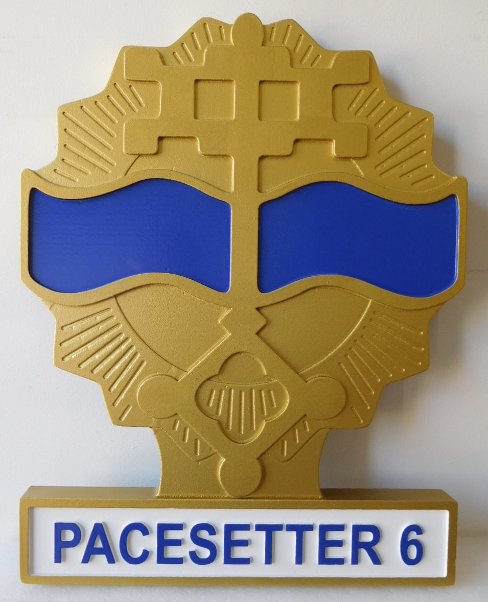 MP-2066 - Carved Plaque of the Insignia of a Unit of the US Army,  Artist Painted