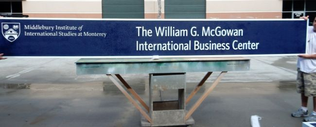 "FA15565  - Carved and Sandblasted  Sign for the ""McGowan Business Center"" of the Middlebury Institute of International Studies, 2.5-D"