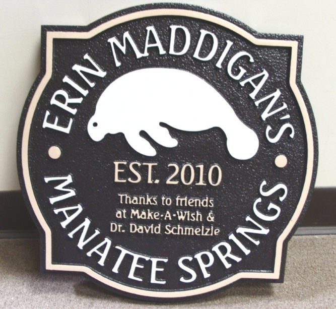 GA16494 - Carved HDU Sign for Manatee Springs with Carved Manatee