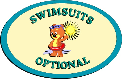 "GB16540 - Carved HDU Sign for ""Swimsuits Optional"" With a Teddy Bear Wearing a Rubber Tire Float"