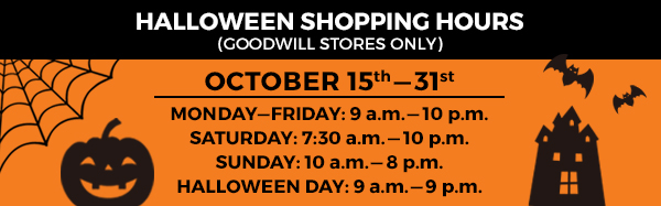 Goodwill's special Halloweentime shopping hours
