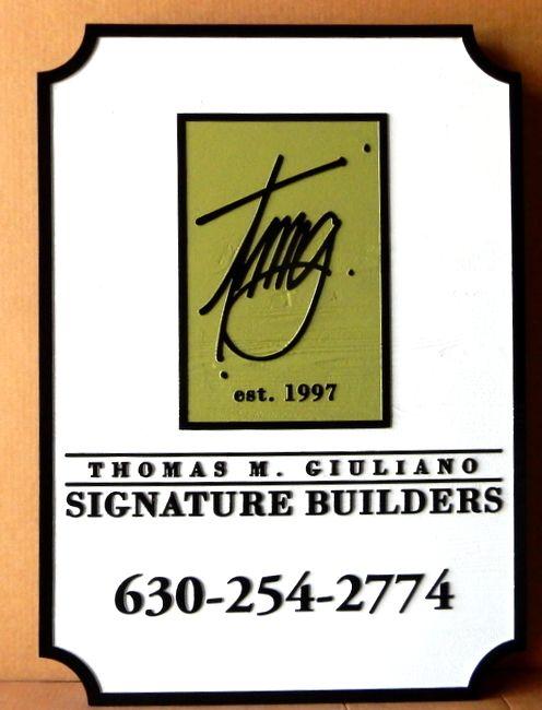 "SA28784 - Carved Cedar Wood Sign for the ""Thomas Giuliani Signature Builders""  Company, with Logo"