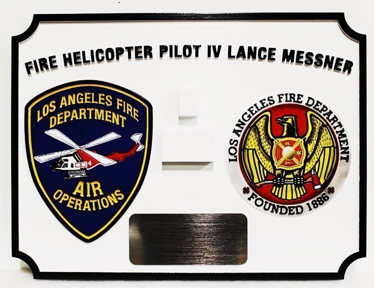 X33898 - Carved 2.5-D HDU Plaque for a Fire Helicopter pilot of the Los Angeles Fire Department