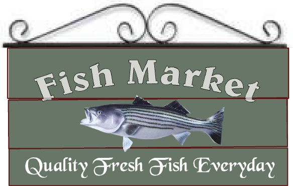 L21964 -  Design of Wood Sign for Fish Market  with Image of Fish