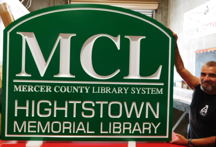 F15506 - Carved Engraved Hanging  Entrance Sign for the Hightstown Memorial Library , 2.5-D Artist-Painted