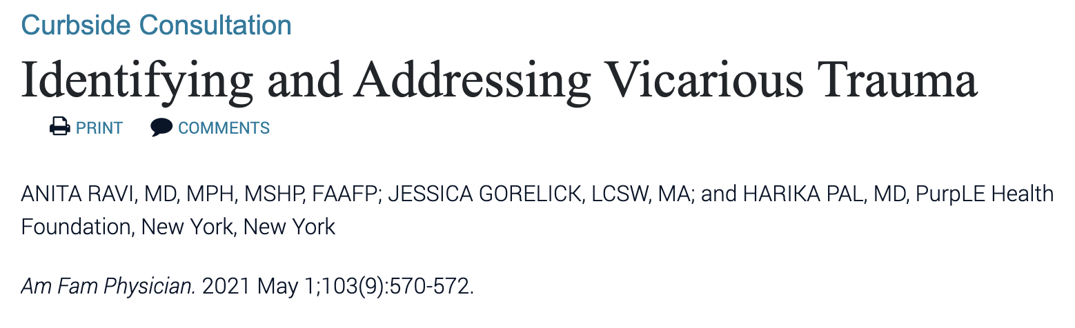 """PHF Publication """"Identifying and Addressing Vicarious Trauma"""" in American Family Physician journal"""