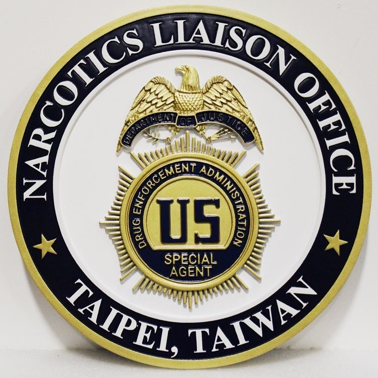 AP-2549 - Carved 3-D HDU Plaque of the Badge of the DEA's Narcotics Liason Office, Tapei, Taiwan