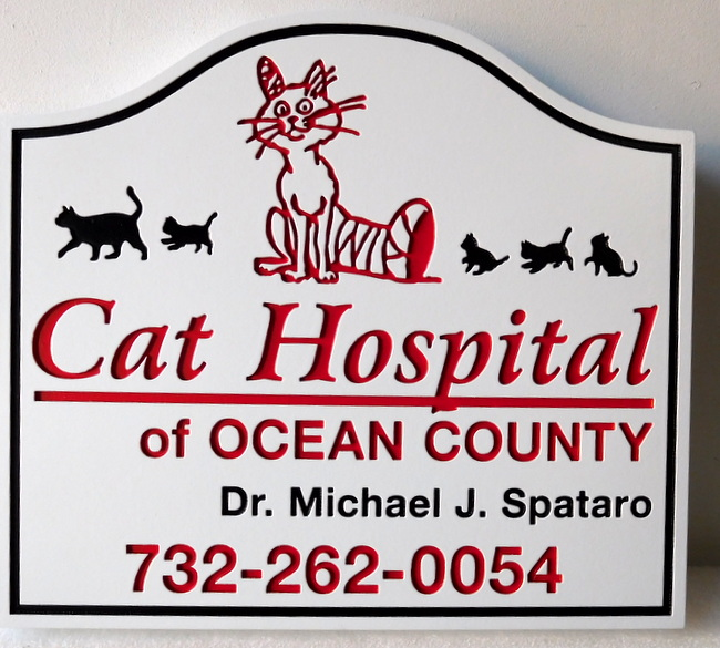 BB11779- Engraved Sign for Cat Hospital, with Cartoon Cat as Artwork