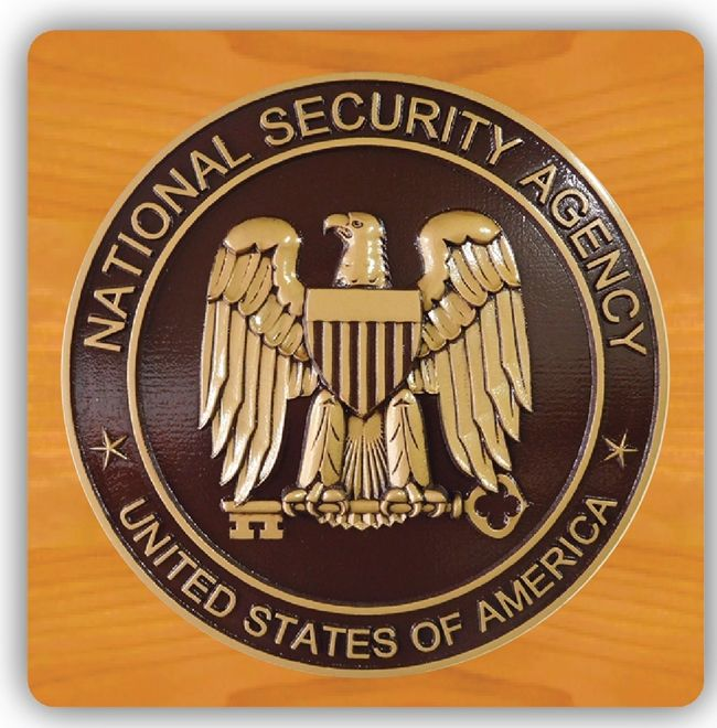 EA-2035- Seal of the Department of National Security Agency Mounted on Mahogany Plaque