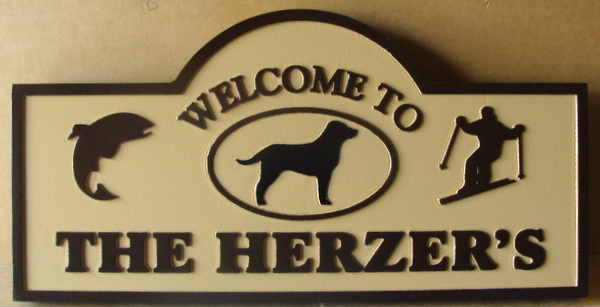 M22024   Welcome Sign to Private Home with Skier, Dog and Dolphin