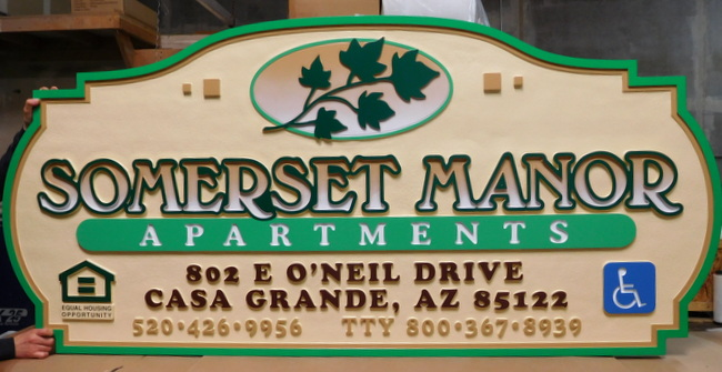 "M1644 Large Carved Entrance Sign for ""Somerset Manor Apartments"". wiith Maple Leaf Branch (Gallery 19)"""