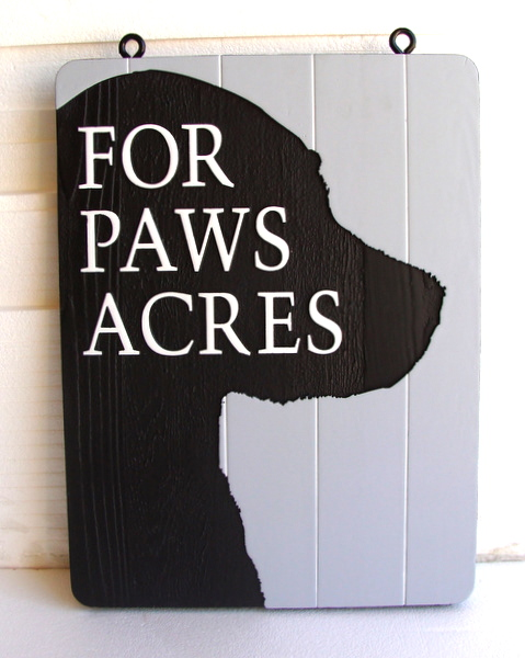 "I18608 - Carved Property Name Sign, ""Four Paws Acres"", in Shape of Dog's Head"