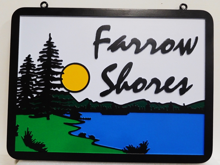 "M22379 - Carved HDU Lake House Name Sign ""Farrow Shores"" shown above features a Lake, Pine Trees , Mountains and a Setting Sun"
