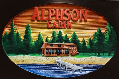 "M22372- Carved and Sandblasted Wood Grain HDU ""Alphson Cabin"" , 2.5-D Artist-Painted, with Cabin and Trees  as Artwork"
