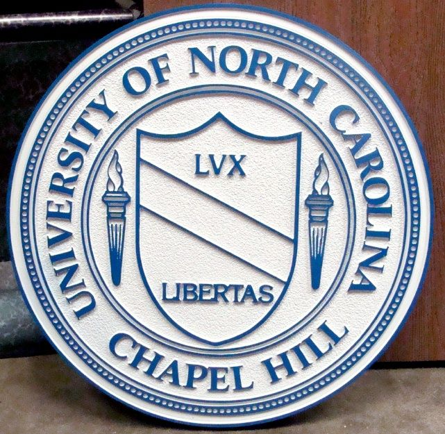RP-1520 - Carved Wall Plaque of  the Seal of the University of North Carolina, Chapel Hill, Artist Painted