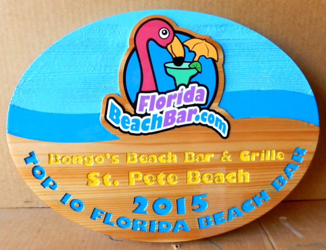 L21953 - Wood Sign for Top 10 Florida Beach Bars with Pink Pelican