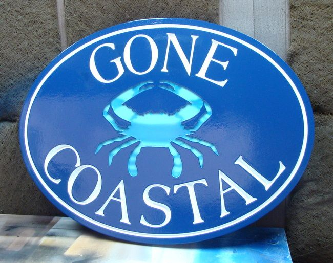 """L21552 - Sea Coast Vacation Home Name Sign """"Gone Coastal"""" with Blue Crab"""
