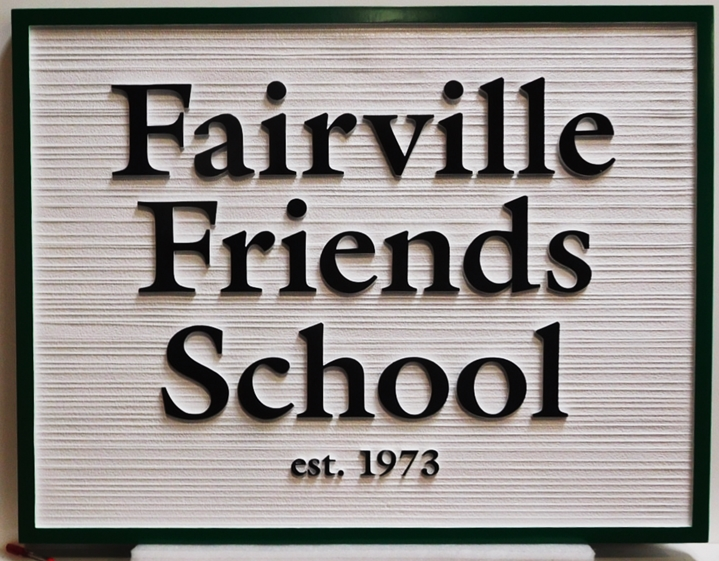 "FA15705- Carved and Sandblasted Wood Grain HDU Entrance Sign for the ""Fairville Friends School"", 2.5-D Artist-Painted"