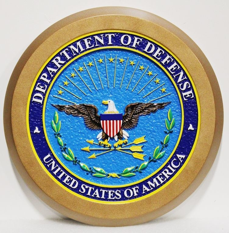 IP-1035 -  - Carved 3-D Mahogany Plaque of the Seal of the US Department of Defense (DoD)