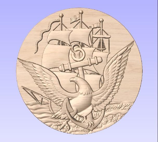 M3971 - Carved Oak Navy Seal