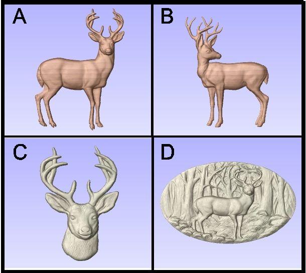 M22992 - Carved 3D wood Appliques of Deer