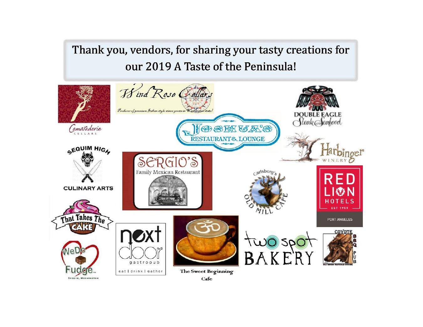 2019 A Taste of the Peninsula Food & Beverage Vendors
