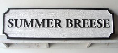 "I18808 - Sandblasted HDU Property Name Sign ,""Summer Breese"""