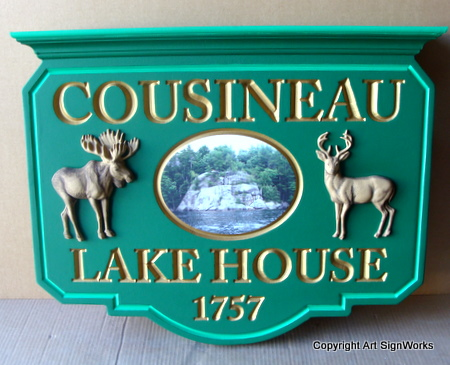 M2081 - Hanging Sign for  Vacation Home on a Lake, with 3D Carved Moose and Deer