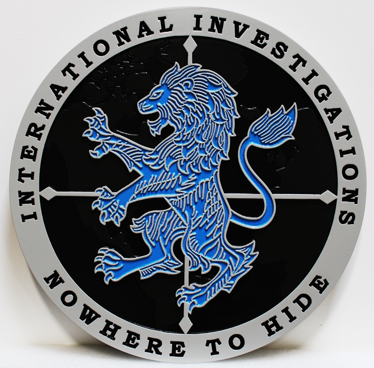 AP-2553 - Carved HDU Plaque of the Seal / Emblem of International Investigations,  Artist-Painted Rampant Lion as Artwork