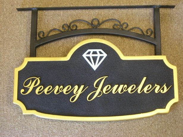 SA28310- Sandblasted Jewelry Store Sign with 24K Golf-Leaf and Carved Diamond
