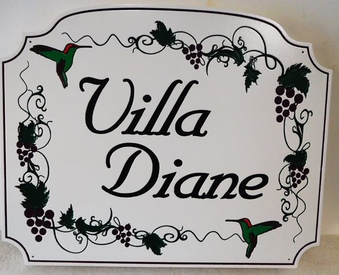 "I18511 - Engraved High-Density-Urethane (HDU)  Property Name  Sign made for a Residence., ""Villa Diane""., with Hummingbirds and Grapevines as Artwork"