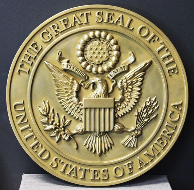 AP-1085- Carved Plaque of the Great Seal of the United States, Metallic Gold Painted