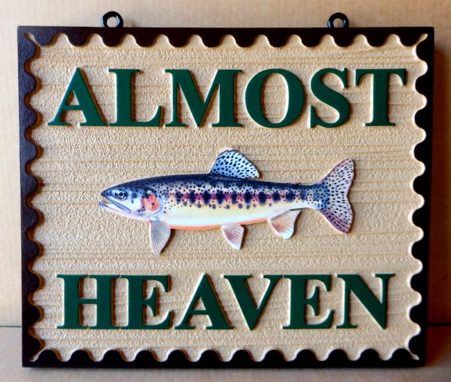 "L21368- Carved  Sign for ""Almost Heaven"" Fishing Area with Salmon"
