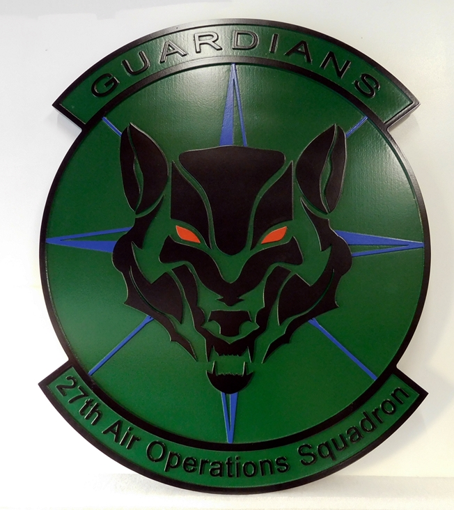 "LP-2400 - Carved Round Plaque of the Crest of the 27th Air Operations Squadron ""Guardians"",  Artist Painted"