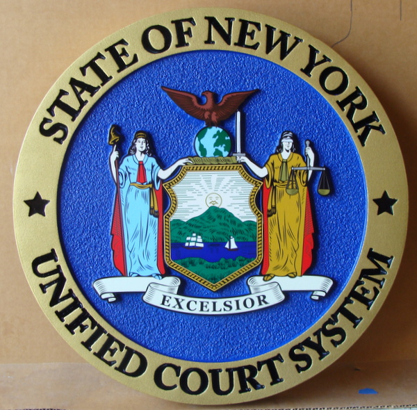 A10873  -  Carved HDU Courtroom  Wall Plaque, for Unified Court System  in the State of New York (Version 3)