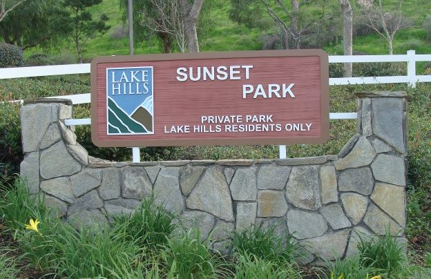GA16451 - Carved, Redwood Sign for Private Park for Residents Only, Stone Monument Sign Base