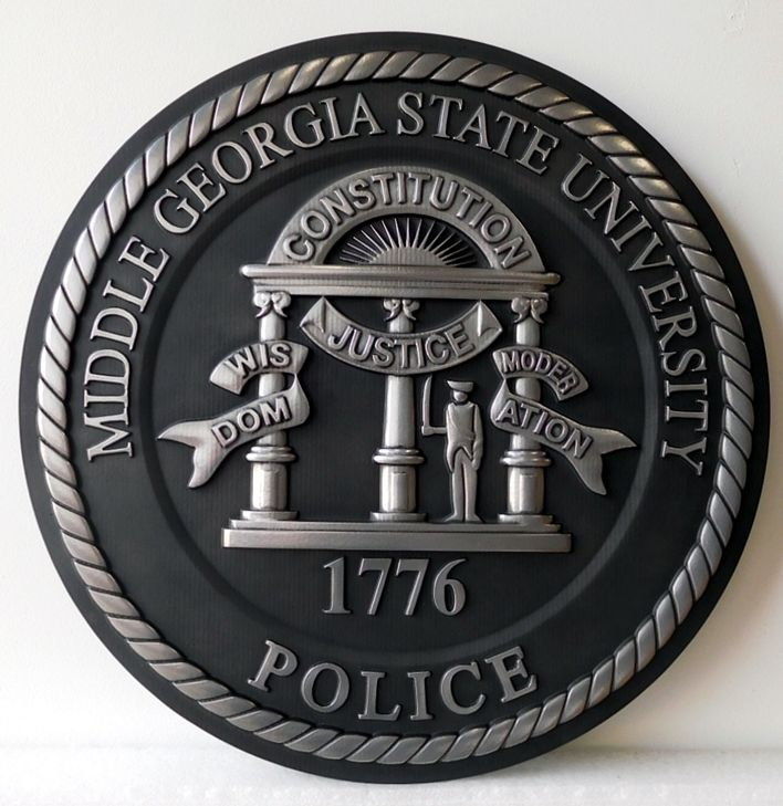PP-3370 - Carved Plaque of the Seal of  the Police of Middle Georgia State University