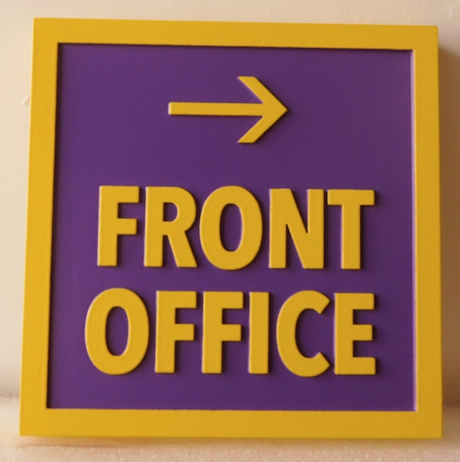 KA20591 -  Carved Front Office Wayfinding  Sign, 2.5-D HDU