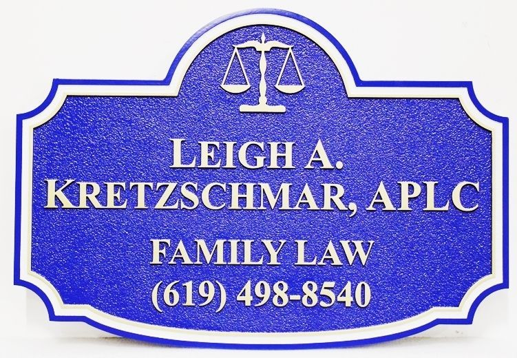 A10514  - Carved and SandblastedHDU sign for the Leigh A. KretzschmarLaw Office , APLC, Family Law