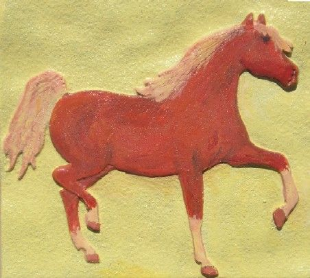 P25835 - Carved Horse Bas-Relief Applique for Equine Sign