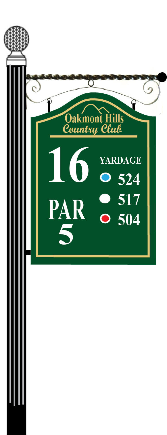 E14380 - Golf Course Tee Sign Hanging from Inverse Scroll Bar